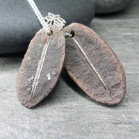 Botanical Necklace, Fern Fossil Pendant, Simple Jewelry, Lotus Charm, Sterling Silver, Nature Lover, Tree Hugger, Primitive Zen, Yoga Style