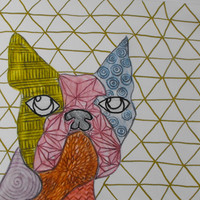 Mixed media, Drawing, Abstract, Dog, Boston Terrier,  Original, Paper, Small, Watercolour, Metallic, Sketch, Geometric, Artwork