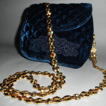 Authentic Gianni Versace Vintage Blue Velvet Eve Bag Bejeweled Strap