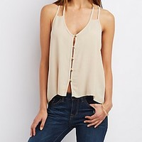 STRAPPY BUTTON-UP TANK TOP
