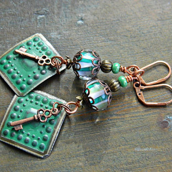 Green boho earrings Tin Lampwork Green glass dangles Gypsy Hippie Rustic Lampwork jewelry Key charm Boho Chic Handmade Gift for Her OOAK