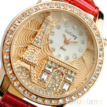 Fashion Women Lady Tower Quartz Wrist Watch Crystal Dial Leather Band = 1652445444