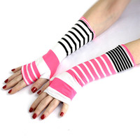 Black and Pink Stripes  Fingerless  Spring gloves from Soft Silky Fabric - Yoga  Belly Dance Fusion Light Goth Cycling