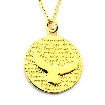 Sea Hawk Gold Vermeil Sterling Silver Large Pendant Necklace (Teamwork quote)
