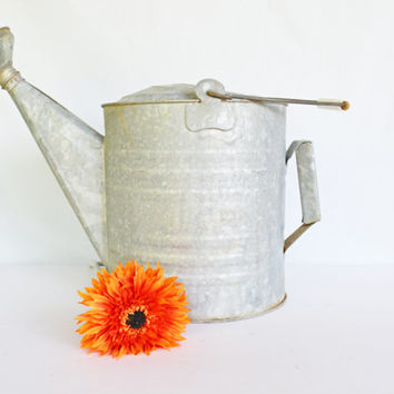 Vintage Galvanized Metal Watering Can, Country Vintage Farming Tool, Farmhouse Garden Decor