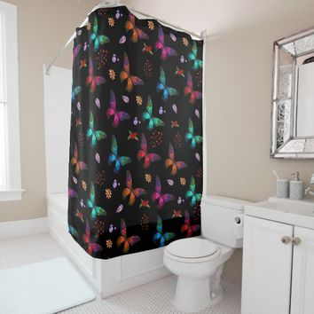 Elegant Colorful Butterflies on Black Shower Curtain