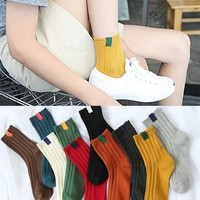 30cm Summer Style Men Women Sock slippers Brand Fashion Cotton Sock Slippers retro color double needle line socks