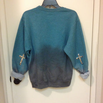 Ombré Teal to Black Sweater with Studded by DistressedVintage