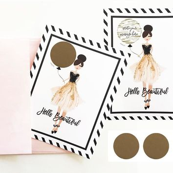 """""""Hello Beautiful"""" Scratch Off Cards (set of 4)"""
