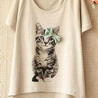 Grey Cat High-low Tee from OASAP-USA