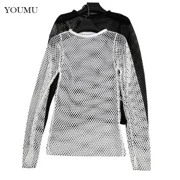 Women Fishnet T-shirt O-Neck Long Sleeve Summer New Mesh Hollow Out Transparent Top Sexy Clubwear Undershirt Black White 906-931