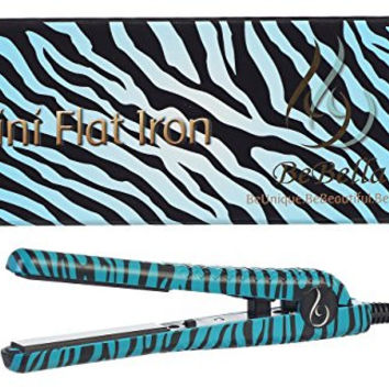 "Bebella Wild Mini Collection: Professional .50"" Ceramic Plates Mini Hair Straightener Flat Iron (Blue Zebra)"