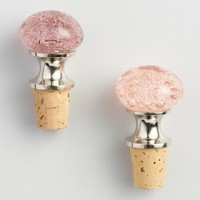Pink and Purple Bubble Glass Wine Stoppers Set of 2