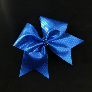 Cheer bow, Blue cheer bow, sequin cheer bow, cheerleading bow, cheerleader bow, softball bow, pop warner cheer bow, dance bow, Cheerbow