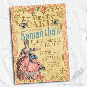 Marie Antoinette Bridal Shower Invitations
