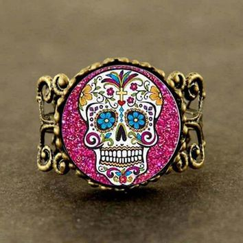 sugar skull Movie Jack Skellington Ring steampunk Jewelry Gift women mens The Nightmare Before Christmas 4 color hot