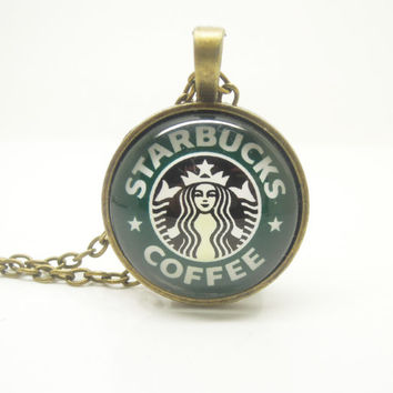 1PC Epoxy Transparent Time Gems Alloy Retro Starbucks Charm Pendant Necklace w/Alphabet Charm Best Friend Gift Fashion Jewelry