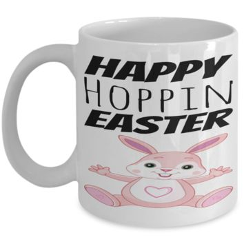 Pink Girl Easter Bunny Mug White Coffee Cup 2017 2018 Gifts Fun Coffee Cups Funny Holiday Sayings Mugs Happy Hopping Easter Egg Hunt Jar