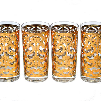 Vintage Georges Briard Gold Glasses Fleur de Lis Scroll Pattern Spanish Gold Mid Century Barware High Ball Glasses 12 oz Tumblers Set of 4