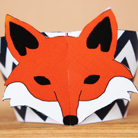 Printable 3D Fox Party Cupcake Wrapper Set - fox face wrappers with navy blue chevron  - DIY printable party supplies –  INSTANT DOWNLOAD