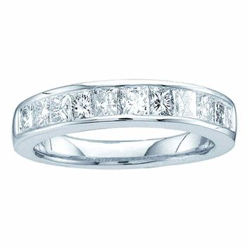 14kt White Gold Womens Princess Channel-set Diamond Single Row Wedding Band 1/2 Cttw - Size 5