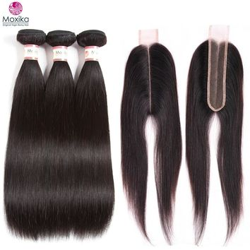 Moxika Peruvian Straight Hair 3 Bundles With Closure Kim K Middle Part Closure 2x6inch 4pcs/lot 100% Remy Human Hair