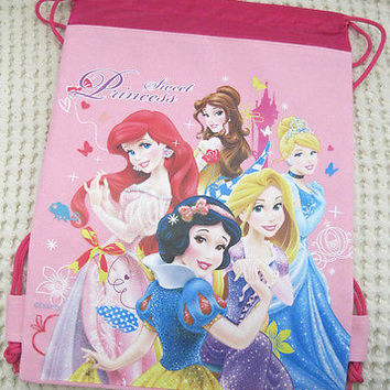 Disney Lite Pink Princess + Friends Sweet Princess Drawstring Backpack Gym Bag!