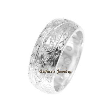 925 STERLING SILVER HAWAIIAN PLUMERIA SCROLL DIAMOND CUT EDGE 8MM THICK RING SIZE 3-14