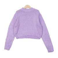 Sherpa Mock-Neck Crop Knit Top