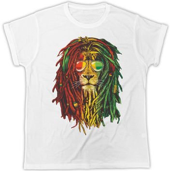 RASTA LION BOB MARLEY POSTER IDEAL GIFT PRESENT UNISEX RETRO COOL TSHIRT Classic Cotton Men Round Collar Short Sleeve