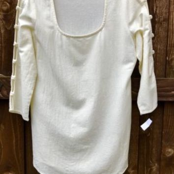 SOFT Surroundings Gauze Top Open Sleeves Blouse