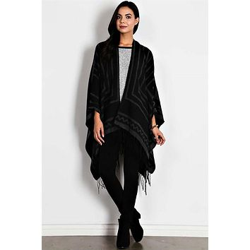 Fringe Trim Knit Wrap Poncho