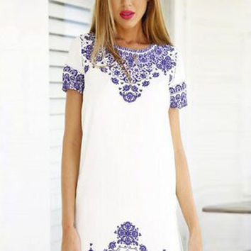 Porcelain Print Short Sleeve Princess Mini Shift Dress