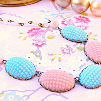 Blue Pink Vintage Necklace, Powder Pink Baby Blue Vintage Hobnail Necklace, Jade Bead Necklace, Vintage Jewelry, Retro Jewellery, Vintage