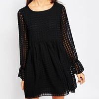 BCBGeneration Ruffle Sleeve Baby Doll Dress in Black