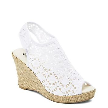 Crochet Jute Platform Wedge by Qupid