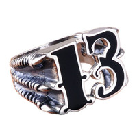 Punk Jewelry Gothic Styled .925 Thai Silver Ring for Men's Fashion-Size 10