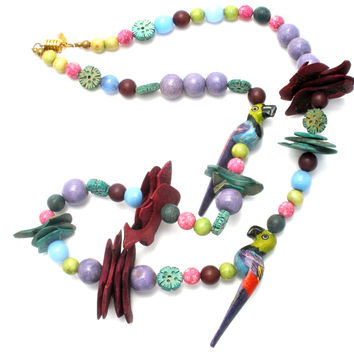 Tropical Wood & Gemstone Bead Parrot Necklace