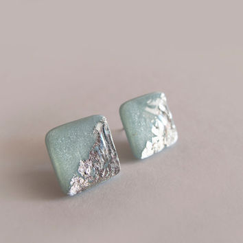 Grey Blue Silver Square Stud Earrings - Hipoallergenic Surgical Steel Post