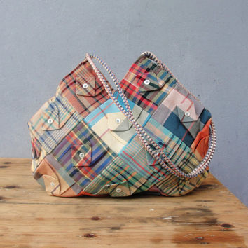 Christmas Sale - Folded Plaid Bag - Vintage Plaid Fabrics Patchwork