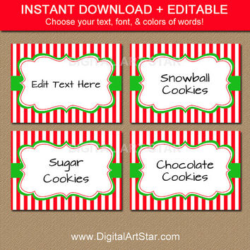 Christmas Candy Buffet Labels, Tent Cards, Place Cards, Decor - Editable Christmas Food Labels - Printable Christmas Labels - CSV