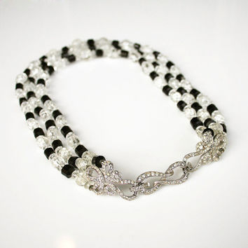 Vintage Boucher Necklace Black Clear Glass Bead Rhinestone Jewelry