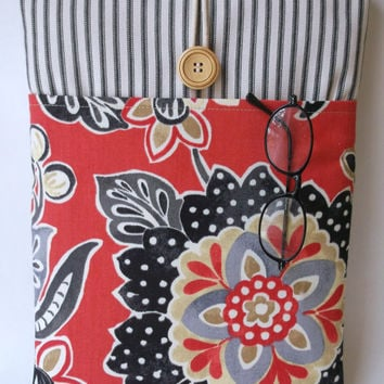 "Red MacBook Case Cord Pocket, 13 inch Mac Book Pro or Air Womens Sleeve, Girls Laptop Bag, Ladies Padded Cover, 13.3 ""  Stripes Flowers Sac"