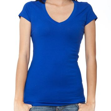 Ladies Royal Blue Plain Short Sleeve T-Shirt Round V-Neck Cotton Spandex