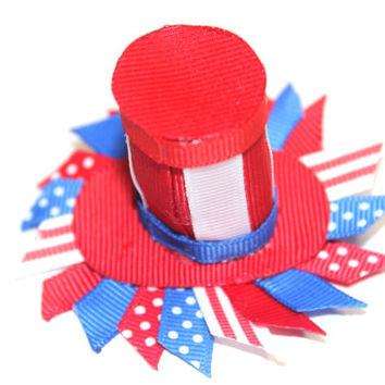 Patriotic hat hair clip 4th of July hair clip Ribbon sculpture Uncle Sam Hat hair clippie Independence day hair clip Memorial day hair clip