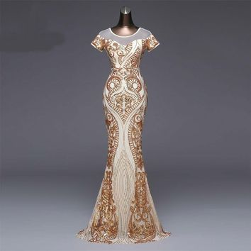 Elegant Short sleeves Evening Dress Sexy Backless  Gold Sequin Formal party dress prom gowns