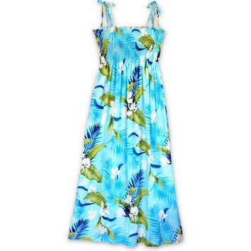Ginger Breeze Blue Maxi Hawaiian Dress