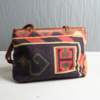 Vintage large, oversize kilim bag/ purse with genuine leather. Bright colors. Handwoven