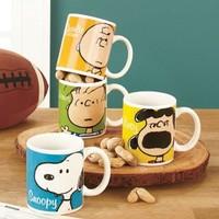 Set of 4 (four) Classic Peanuts Characters Coffee Mugs Charlie Brown, Lucy, Linus, Snoopy