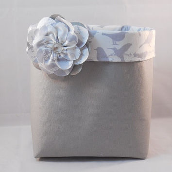 Gray Fabric Basket With Gray and White Bird Liner and Detachable Fabric Flower Pin For Storage Or Gift Giving